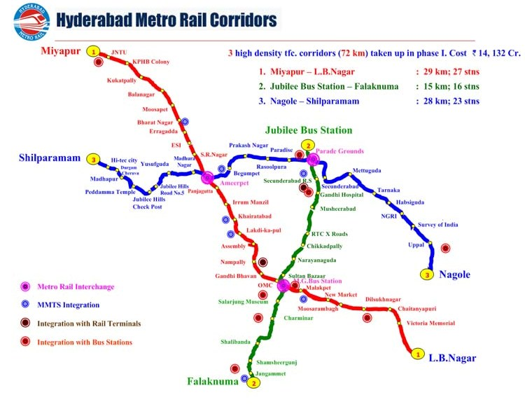 Route Map Hyderabad Hyderabad Metro Train Route Map & Timings