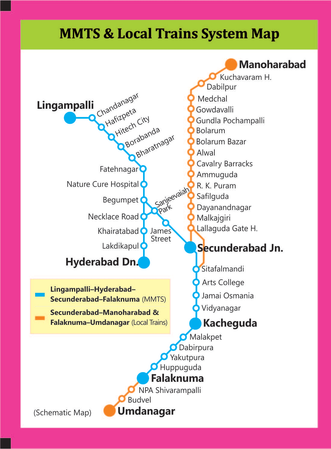 Hyderabad Local Train Map MMTS Train Timings Hyderabad   Secunderabad Metro Train Timings